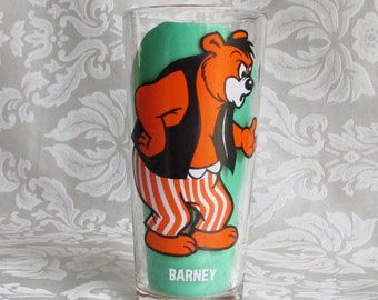 Vintage Pepsi Collector Series Barney 1975 Tall Drinking Glass Tumbler  M-G-M Inc