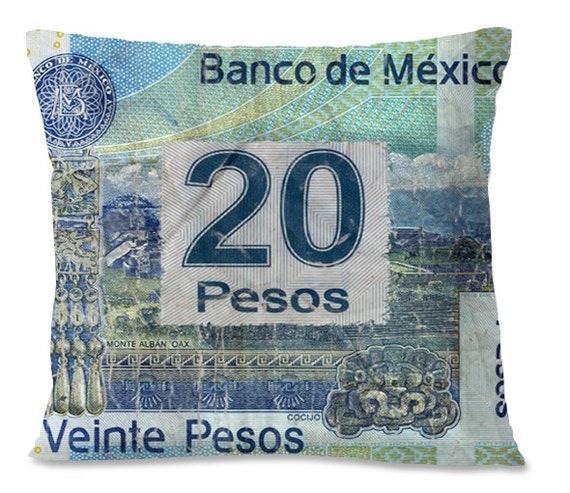 Mexican VINTAGE Accent Pillow - 20 PESOS - Southwest Home Decor - Designer Money - Linen backing - Insert included