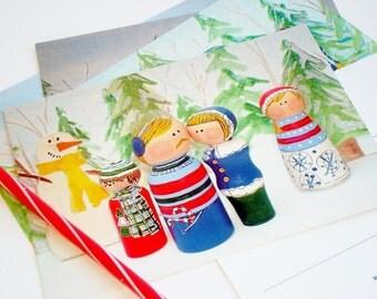 Holiday Postcards- Peg People Art, Set of 5