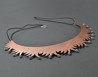 Copper Necklace, Copper Tiara with Pearls, Handmade Copper Jewelry, copper and pearls