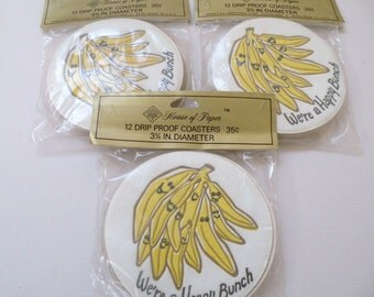 We're a Happy Bunch  Banana Party Coasters, 3 unopened packages