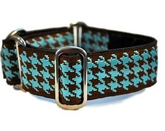 Martingale Collar: Classic Houndstooth (1.5 Inch), Brown and Blue, Dog Collar, Greyhound Collar, Custom Dog Collars