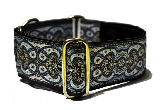 Chocolate and Blue Jacquard Martingale Collar - 2 Inch
