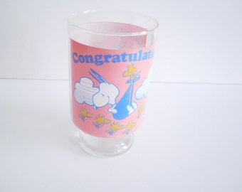 Vintage Peanuts Glass, Large Size 28 OZ,  Footed Clear Glass Woodstock Snoopy Congratulations