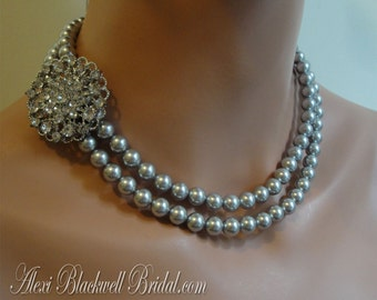 Grey Pearl Bridesmaid Necklace with broach in Light Gray Swarovski Pearls 2 strands Rhinestone Brooch your wedding jewelry bridesmaids gifts