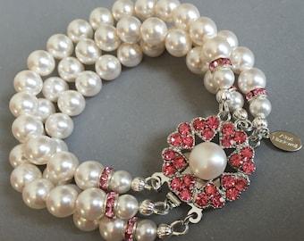 Pearl Bridal Bracelet with Blush Pink Rhinestone fancy Clasp 3 multi strands of Swarovski pearls bridesmaid bridal wedding jewelry set