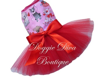 Dog Dress - Valentine's - Valentine - Puppy Love - Dog Tutu Dress XXS, XS, Small or Medium