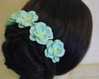 Hairpins x 5. Mint/Aqua Paper flowers. Bridal. Wedding