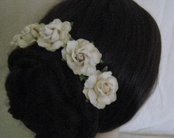 Rose Hairpins x 5. Cream Paper. Wedding, Bridal, Regency, Victorian.