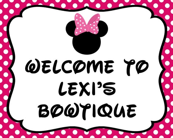 minnie mouse 8x10 personalized welcome birthday sign