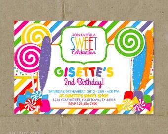 Candy Shop Birthday Party Invitations Digital U Print