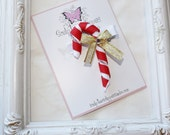 Candy Cane Ribbon Sculpture Bow. Peppermint Candy Bows.  Free Ship Promo.