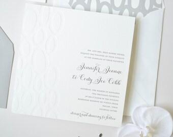 Modern Silver Invitation Suite Sample - Letterpess and Foil Stamped Wedding Invitation - Foil Wedding Invitation - Square Wedding Invitation