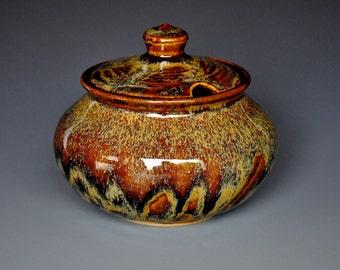 Dark Umber Sugar Bowl Small Ceramic Stoneware Jar A