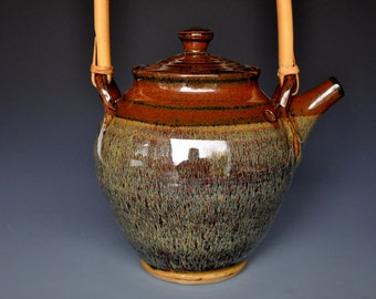 Large Ceramic Teapot Burgundy Wheat Teapot. Pottery Stoneware A