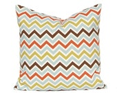 Pillow Decorative Pillows Chevron Pillow Covers Missoni Style 16 x 16 Inches - Brown, Rust, Blue and Olive Green on Natural Zig Zag Chevron