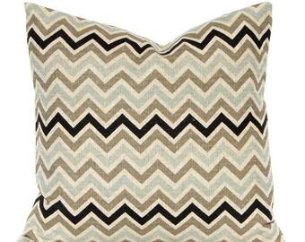 Decorative Throw Pillow Covers - Burlap Pillow Covers - Sofa Pillows - Chevron Pillow Covers - Black and Taupe Chevron Pillow Covers