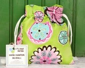 Reusable Drawstring Bag-for Toys, Gifts, Crafting or Storage in Pink Blue Floral on Green