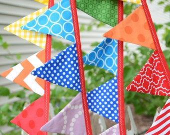 READY to SHIP! Mini Flags Reusable Fabric Bunting, Banner Flags, Photography Prop, Birthday Party Decor, High Chair Decoration, Rainbow