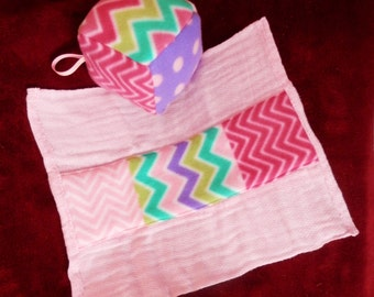 Burp Cloth & Cloth Rattle Block set Handmade - Chevrons dots pink lavender green turquoise toy block