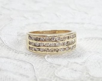 Vintage Triple Row 14k Solid Yellow 0.57 TCW Channel Set Diamond Wide Wedding Band Right Hand Ring Size 5.25