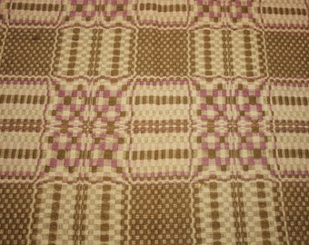 Rare 19th Century Lavender and Moss Linsey Woolsey Jacquard Overshot Coverlet Piece - 34 Inches by 22 Inches