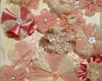 8 Vintage Pink and Cream Fabric flowers