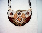 Statement Bib Beaded Suede Applique Crochet Lace Necklace  with Agates and Unakite Stone-Ostrogoth Tribal Princess