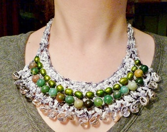 Bib Beaded Statement Crocheted Necklace w/ Fancy Jasper, Pink Glass, Green Freshwater Pearls- MIRABELLA