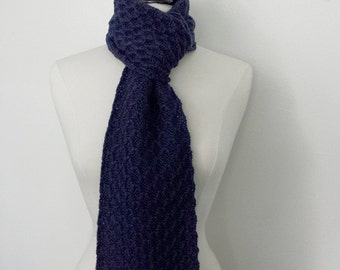 Navy blue wool scarf, knitted chunky textured lace, 100 percent wool