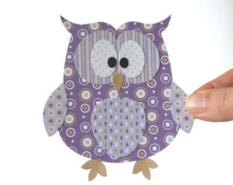 50% Off - Layered Paper Owl Printable - Purple Papercraft Embellishment for Card Making Gift Tag Party Decoration