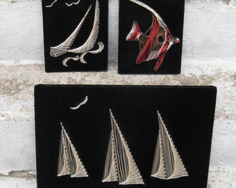 wire art set mid century kitsch sailboats fish black velvet set of 3 beach decor man cave masculine