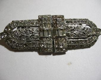 Art Deco CORO Rhinestone Duette Clip, Pat. 1852188