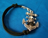 Pirate Skull and Crossbones Bracelet Mens Unisex