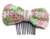 Crochet Bow Hair Comb in Ombre Pink Green Brown
