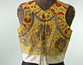 Vintage Embroidered Slovakian Vest Antique Folk Costume Vest Yellow, Red, Purple, Metallic 1920's-AS IS