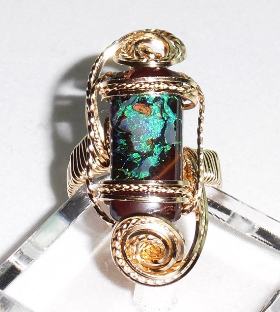 12 ct Natural Earth Mined Australian Broadflash solid Yowah Boulder Opal stone, 14kt yellow gold ring size 7