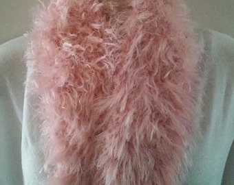 Crocheted Scarf - Fluffy Light Pink