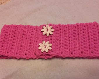 Pretty In Pink Crocheted Head Band With Flower Closure