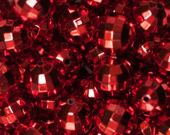 20mm Red UV Plated Disco Ball Beads for Chunky Necklace 10 ct Bubble Gum Necklace Beads Faceted