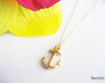 Anchor Necklace, Beach Jewelry, Nautical, Beach Wedding, Delicate, Simple, Everyday Necklace, Gift for Her, Available in Gold or Silver