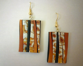 Earthy Crazy Stripe Earrings Polymer Clay in Pearl, Copper, Gold
