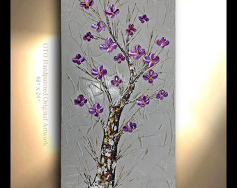ORIGINAL Tree Painting Heavy Textured Vertical Hand painted Oil Painting Taupe Tan Brown Gold Artwork Fine art canvas by OTO