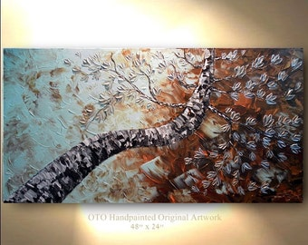 Original Abstract Painting Birch aspen Tree Large Canvas Art Landscape woods treescape color Contemporary Texture by OTO