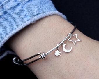 Bangle - Sun - Moon - Star Bangle Bracelet - Celestial Bracelet, Charm Bracelet, Stacking Jewelry, Bangle, Cuff, Personalized Bangle