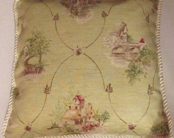 French Country Cottage Pillow Green Ivory Toile Garden Paris