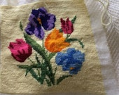Vintage Embroidered Chair Cover Pillow Fabric Piece Beautiful Victorian Flowers