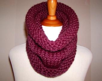 Knit Cowl Neck Warmer, Dusty Purple Fig Cowl, Chunky Knit Cowl, Chunky Knit Cowl Scarf, Bo Ho Cowl Scarf, Boho Knit Cowl