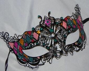 Multi Colored Metallic Masquerade Mask - Rainbow Mask