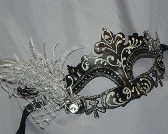 Black and Silver Masquerade Mask with Spider and Rhinestone Accents